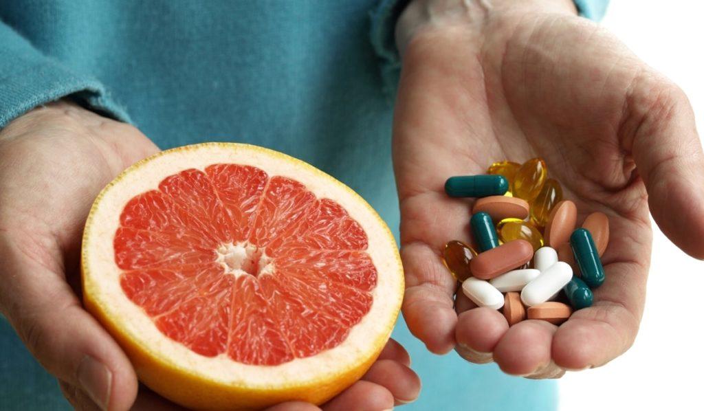 Прием вещества и грейпфрутового сока