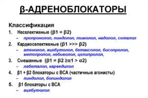 Адреноблокаторы при гипертонической болезни: список препаратов