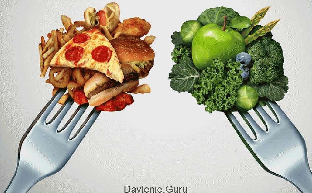 Здоровая еда и вредная еда